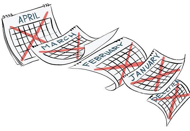 Ilustración calendario con marcas  - Errores al buscar trabajo
