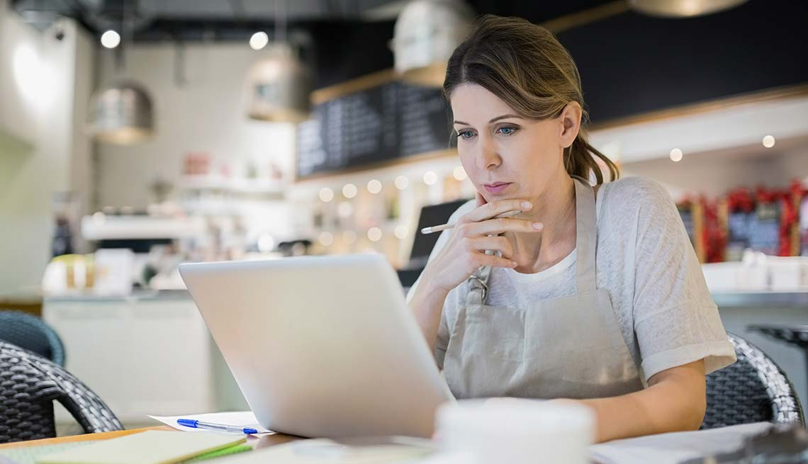 Woman searching for job online