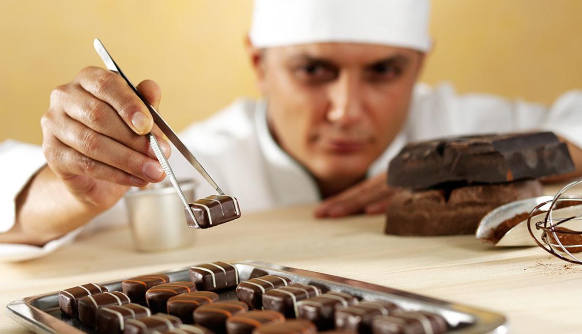 A chef makes chocolates