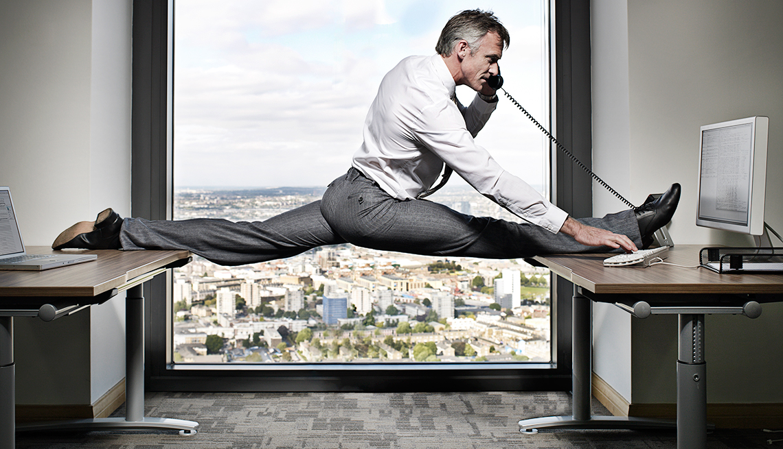 a man getting a desk workout