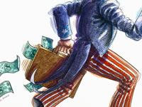 Uncle Sam losing dollars from his bag - the federal government paid millions to deceased retirees