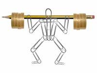 Empresas que apoyan los programas de ejercicios para empleados se benefician de muchas maneras - foto de un hombre hecho de clips levantando pesas