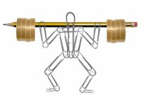 Companies that support employee exercise programs benefit in numerous ways - photo of paperclip man raising office supply weights