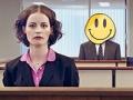 Una mujer, un hombre con una ilustración por rostro, y un hombre en unos cubículos de oficina - Amor al trabajo