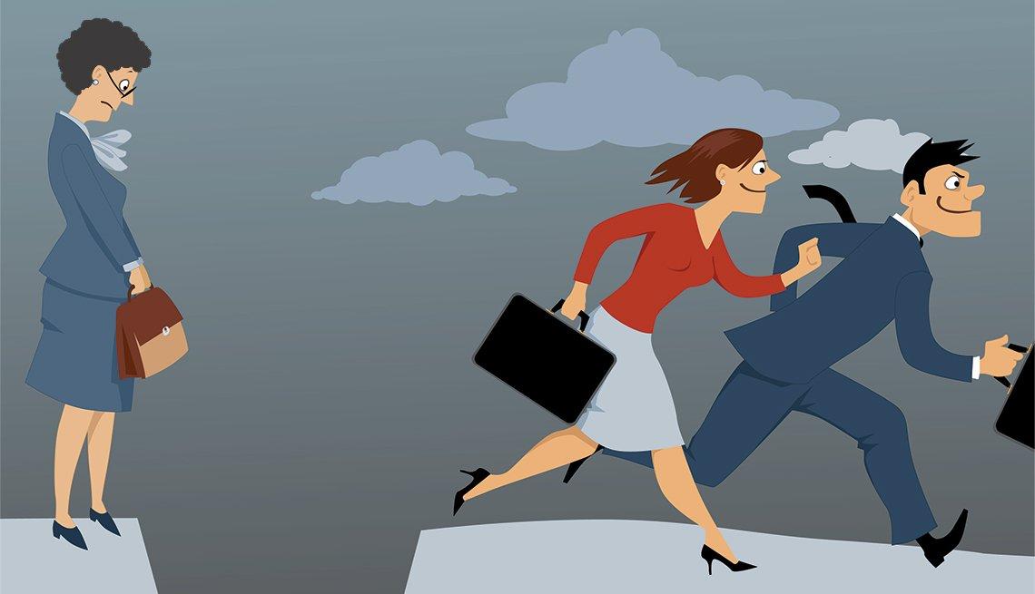 Ilustración de ejecutivos corriendo y una mujer que no puede saltar