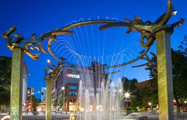 Fountain in Riverfront Park on the Spokane River.