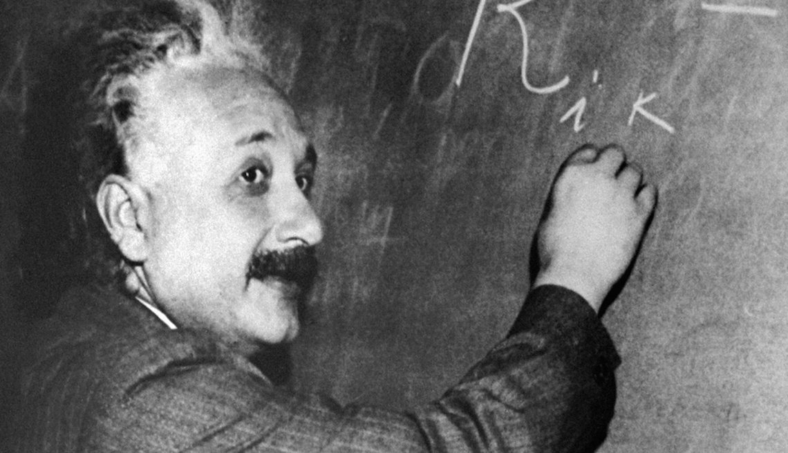 Albert Einstein at a blackboard