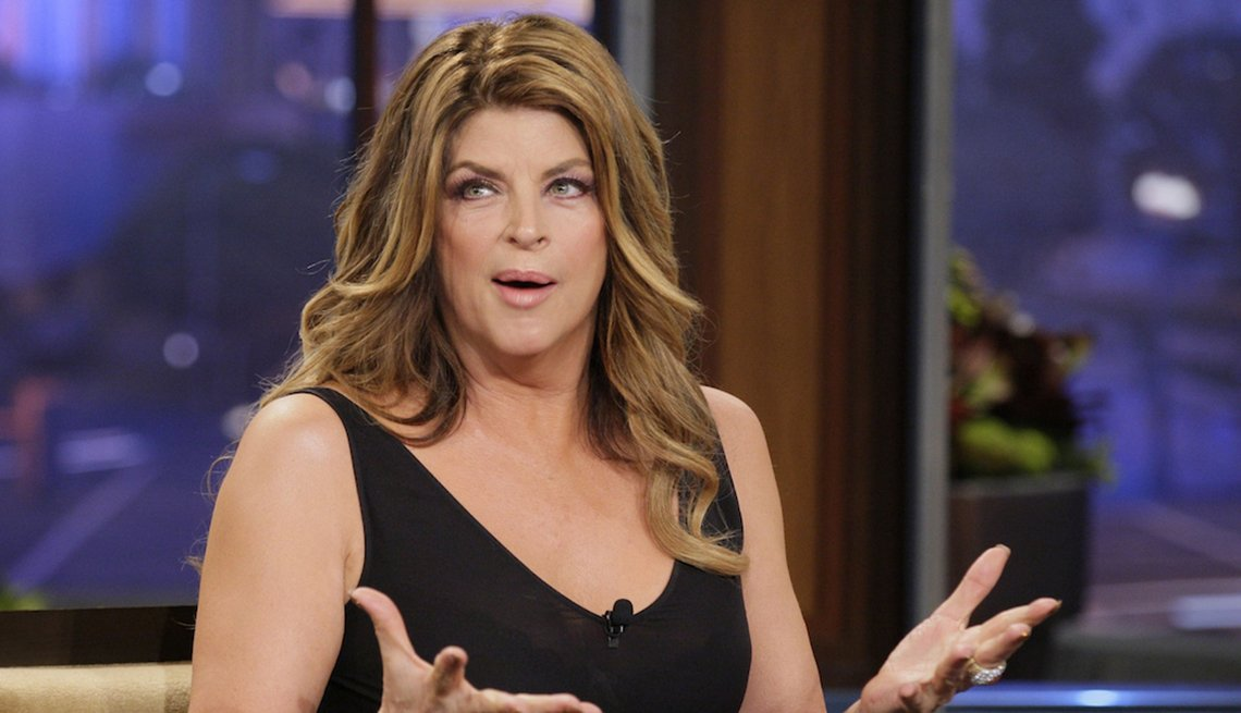 Actress Kirstie Alley on a talk show