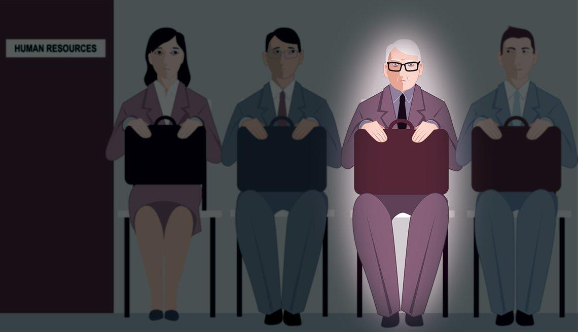 mature man in spotlight waiting for job interview