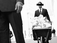 Corporate types with wheelbarrow full of money - Ellen E. Schultz's Retirement Heist, How Companies Plunder Profit from the Nest Eggs of American Workers