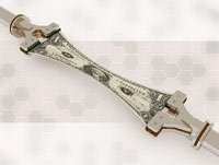 Robotic arms stretching US dollar bill