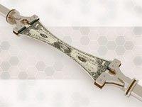 Robotic arms stretching US dollar bill