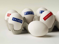 Eggs labeled growth or income to symbolize investing in stocks or bonds