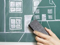 Chalkboard drawing of downsizing your home - a cottage industry of service companies can help you