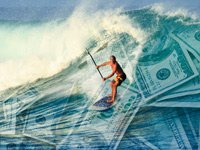 Surfer rides out waves of the economy and markets, long term advice.