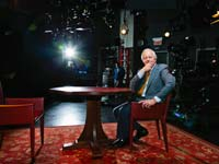 Bill Moyers on set of his show