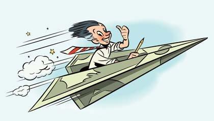 ¿Cuánto sabe sobre Wall Street? - Ilustración de un hombre volando  en un avión hecho de un billete de dólar.