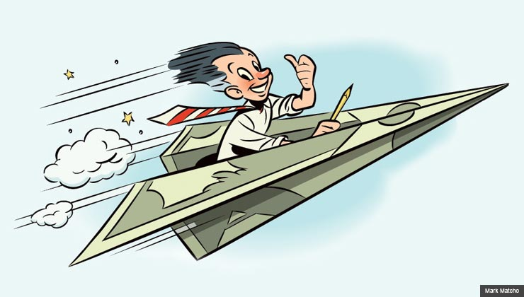 Illustration of man flying through sky in a paper airplane made of money