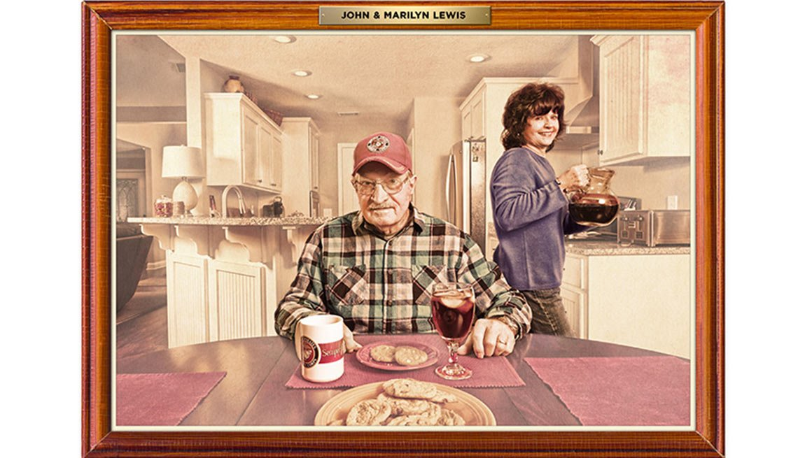 Man Sits At His Kitchen Table Eating A Meal With His Wife In The Background, AARP Money, Work And Retirement, The Home You Want With The Money You Have