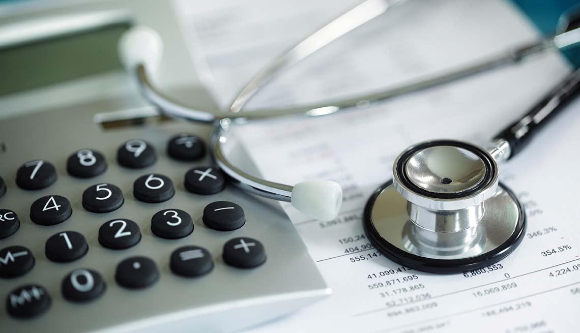 Calculator and stethoscope, Health Care Costs Calculator