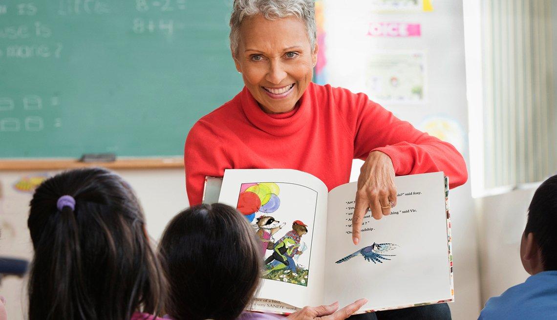 mature teacher in classroom