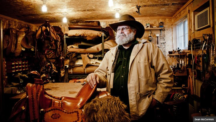 Mark Nelson, a saddle maker with a workshop behind his house in Wisconsin