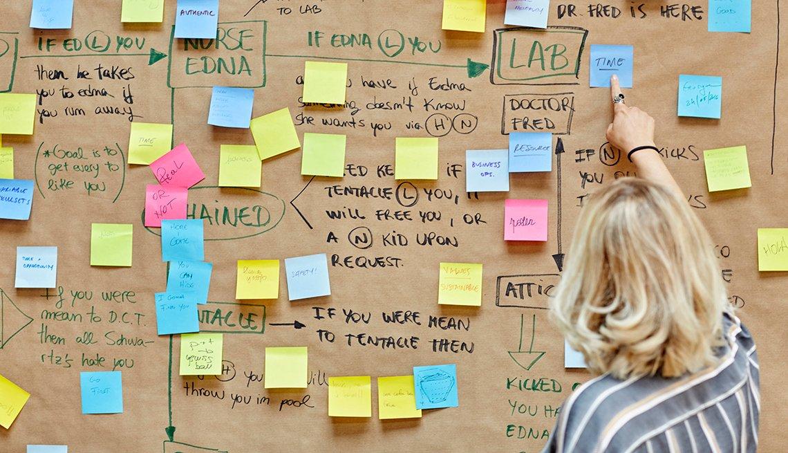 Mujer haciendo un plan de trabajo en una cartelera llena de notas adhesivas