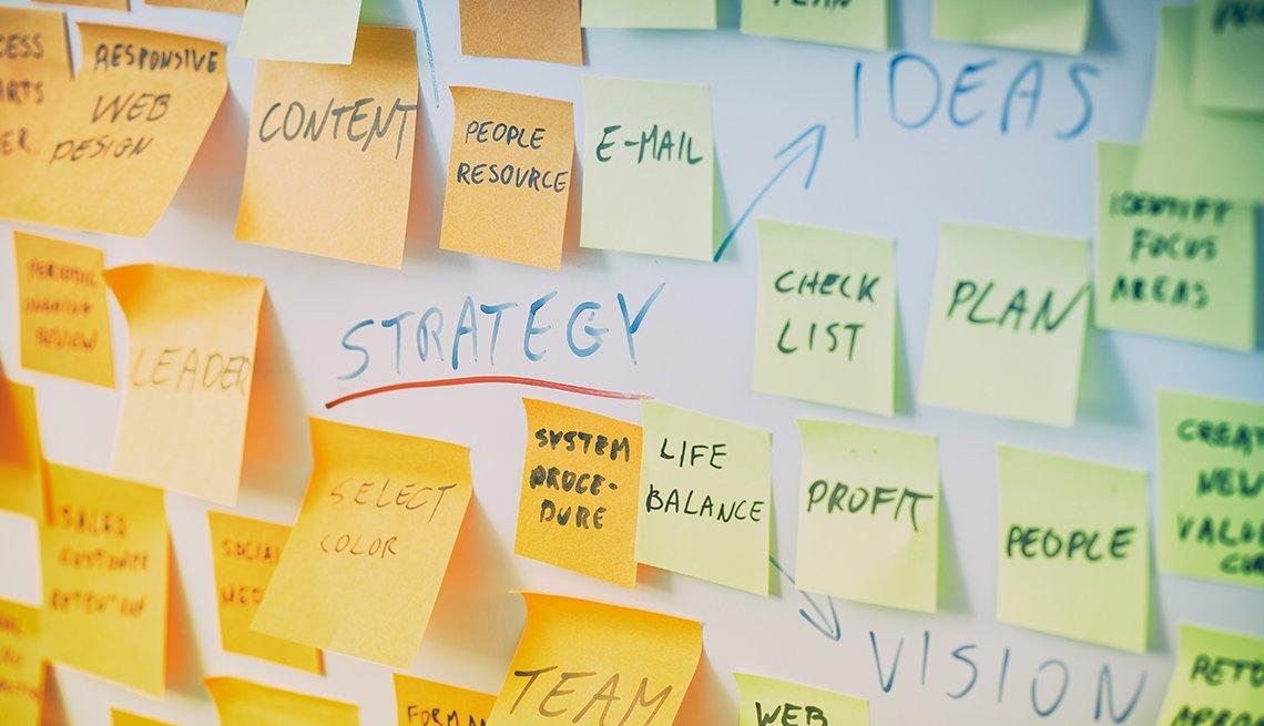 Tablero con notas de colores pegadas en medio de tres palabras, estrategia, ideas, visión