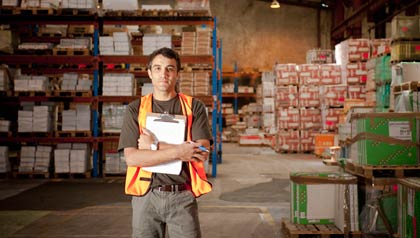 A man working in a warehouse