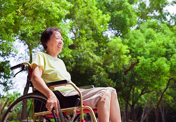 Asian senior woman in wheelchair,AARP Social Security Mailbox Top 10 questions asked