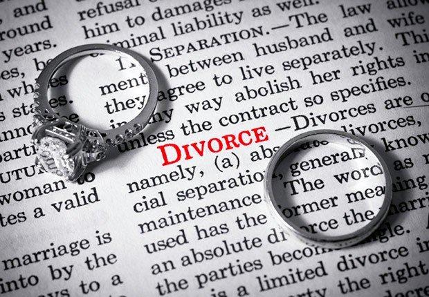 Diccionario con la palabra de divorcio y 2 anillos de matrimonio - Preguntas sobre el seguro social