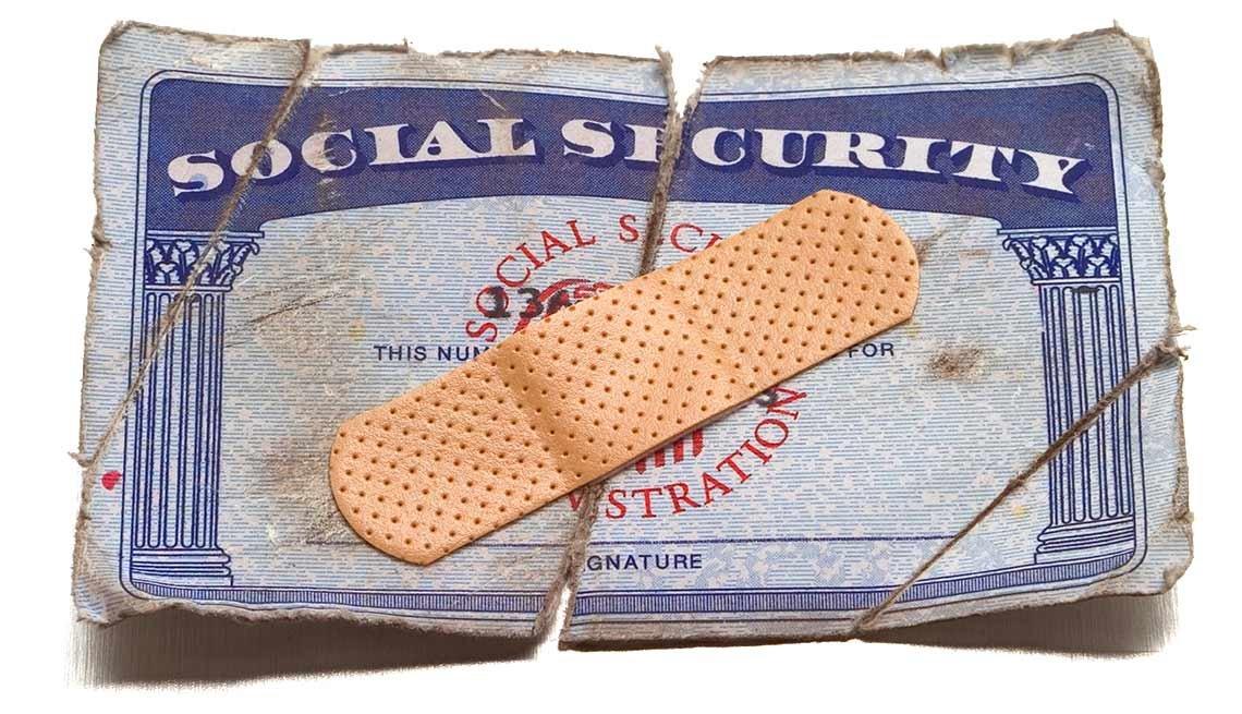 Tarjeta del Seguro Social con una cura encima