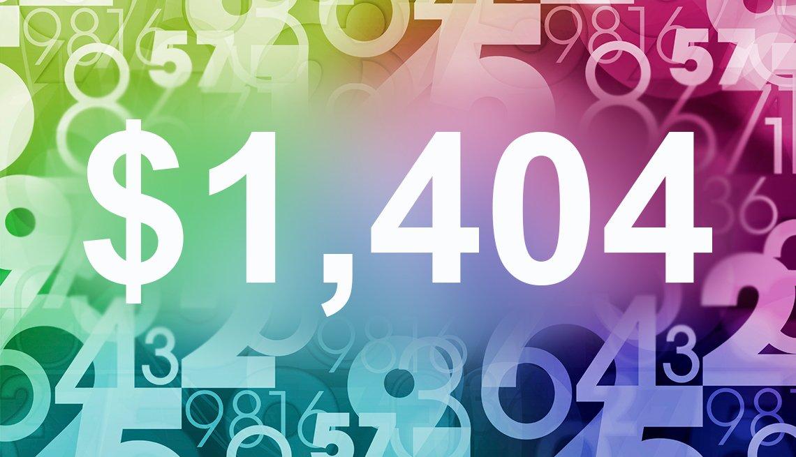 Cifra $1,404 en un fondo de colores con otros números