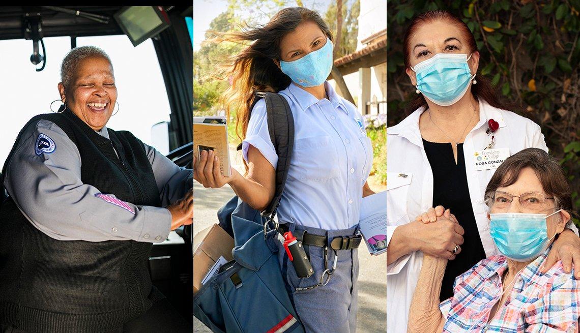 La conductora de bus Marcia Johnson, la cartera Tina Weber y la enfermera Rosa Gonzalez.