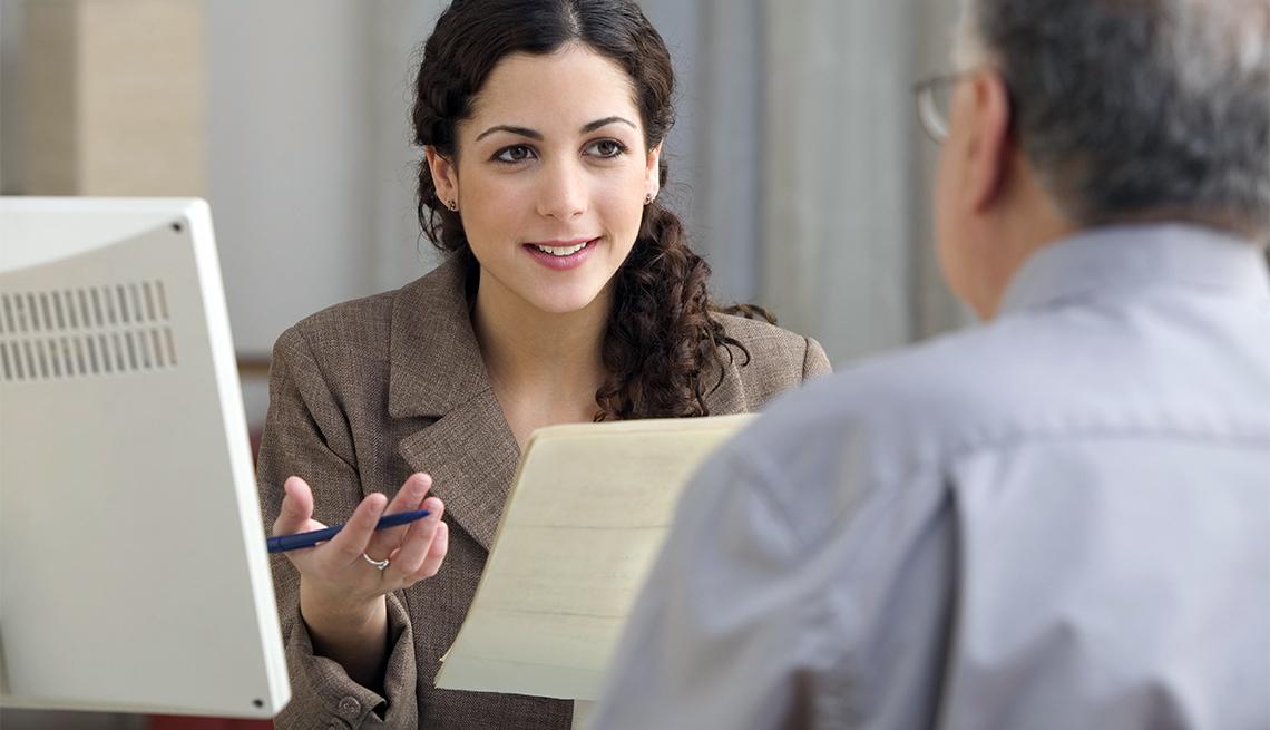 Businesswoman interviewing prospective employee