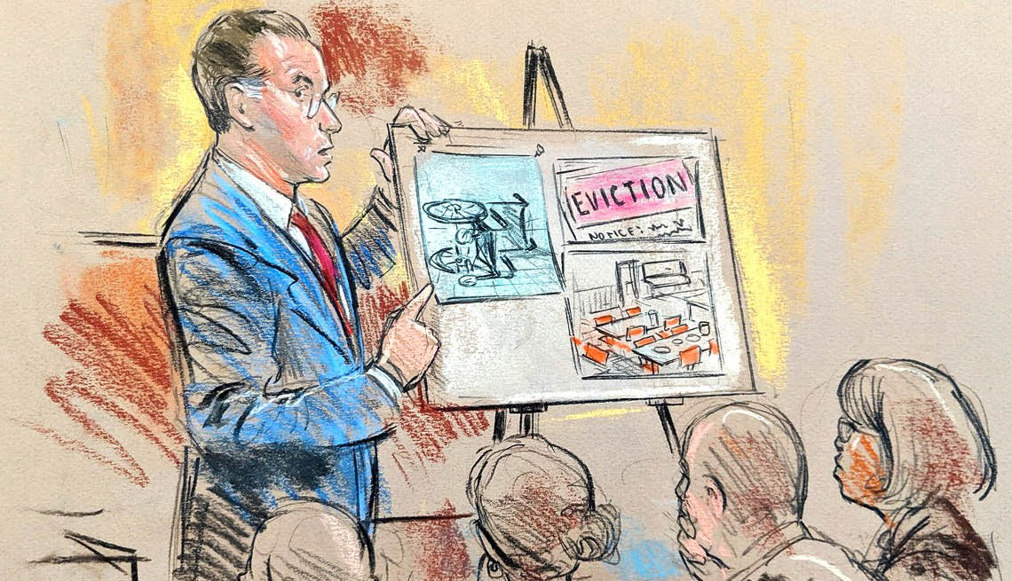 A lawyer standing next to a board during a trial in a court room in this drawing