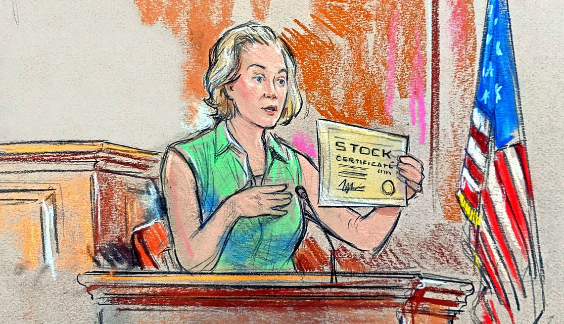 A woman during a trial holding up a yellow sheet of paper in this drawing