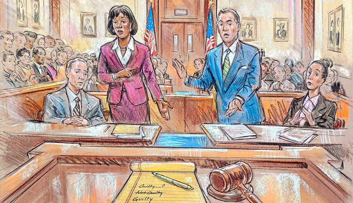 Lawyers arguing in court in this drawing