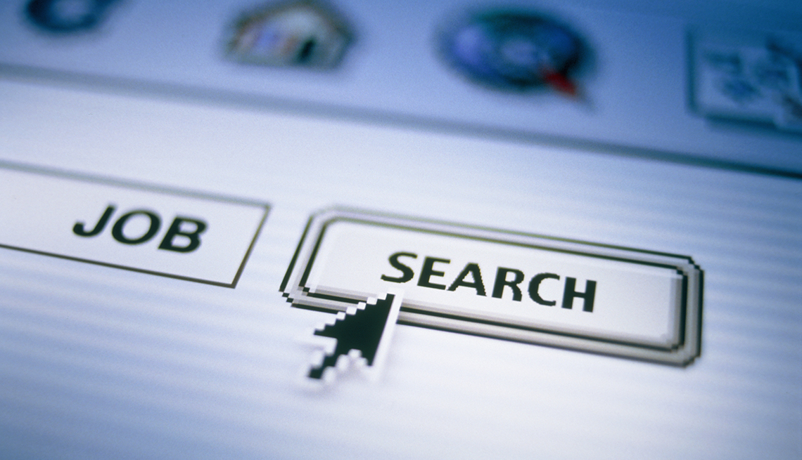 The words job and search on a computer screen