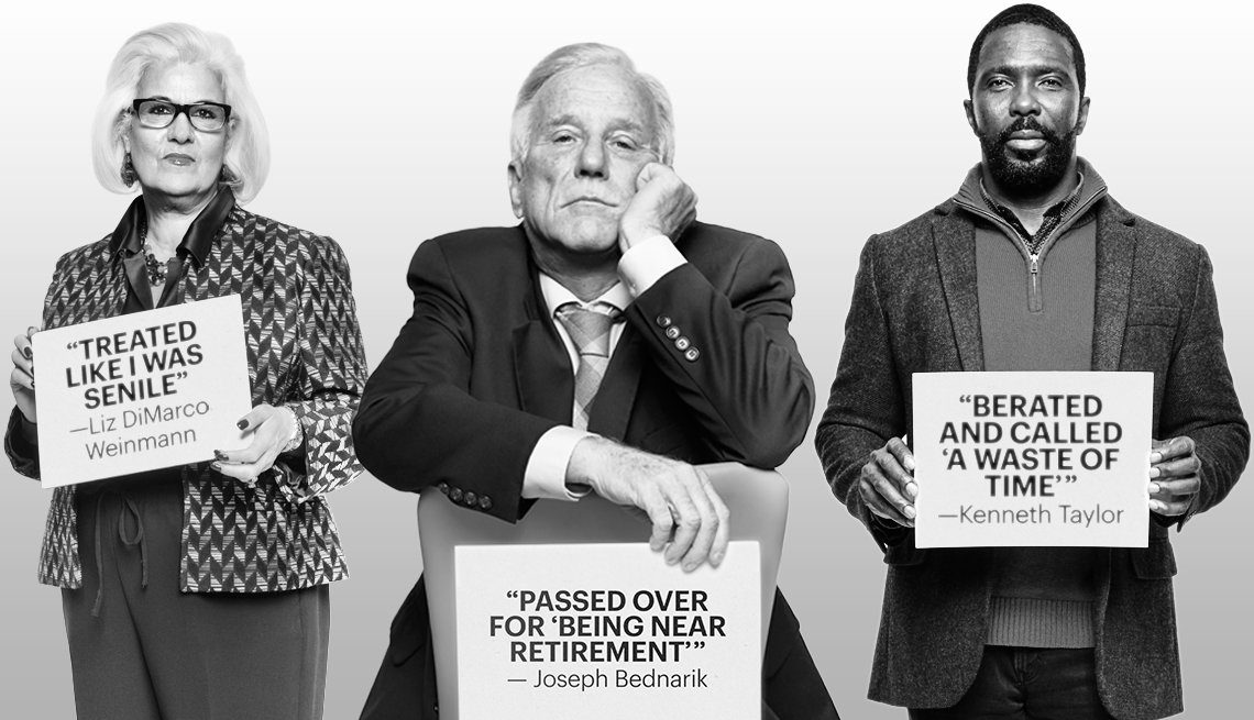 three people over age 50 are holding up signs that tell stories about ageism they faced  in the workplace