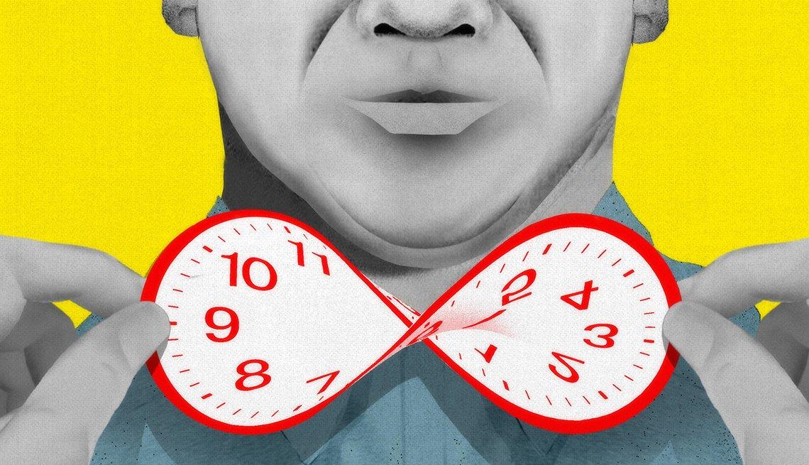 Ilustración de las manos de un hombre mayor retorciendo un reloj a modo de corbatín.