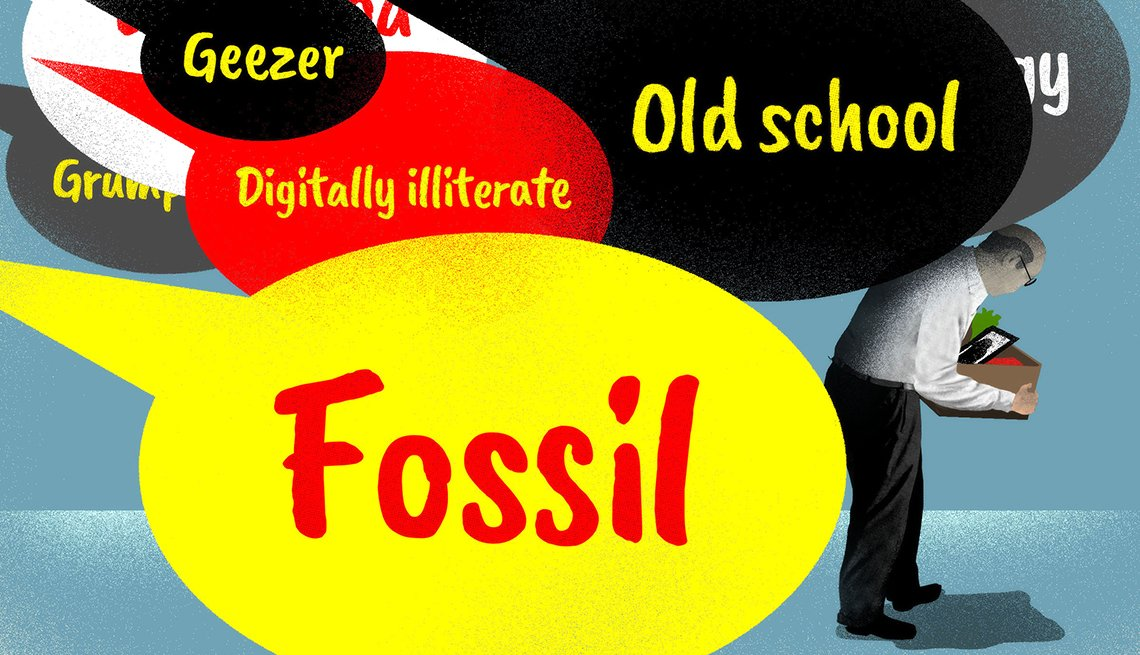 older person bent over carrying a box from cleaning out their desk leaving a job and pursued by speech bubbles that contain age related insults such as fossil and geezer