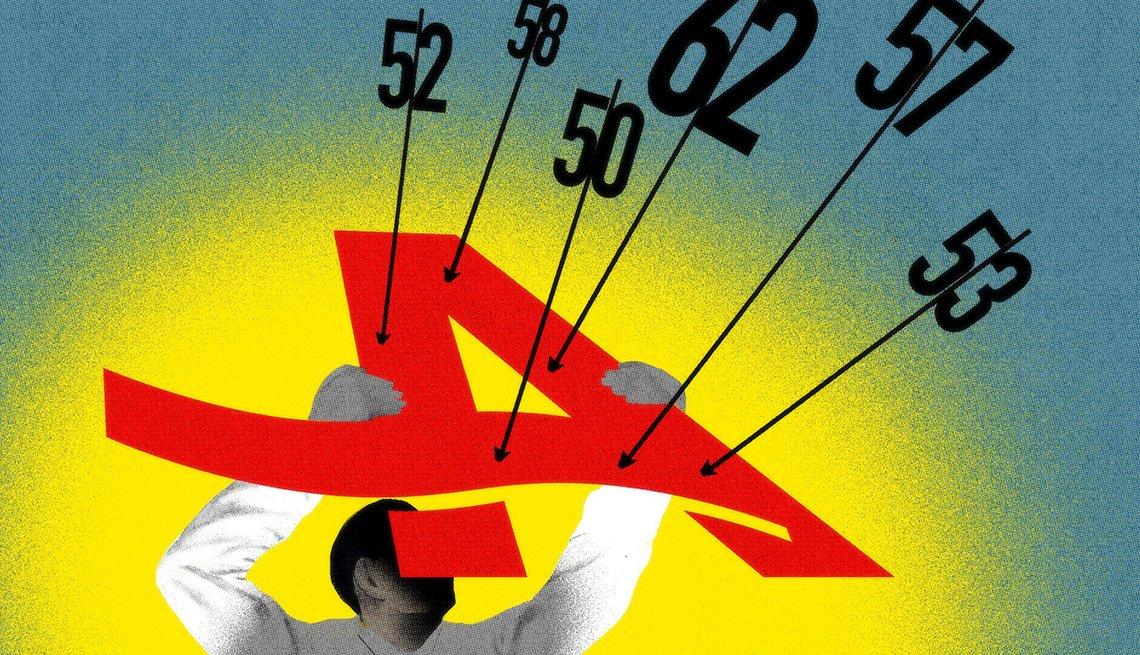 Ilustración de una persona que sostiene la letra A de AARP de las que salen diferentes números