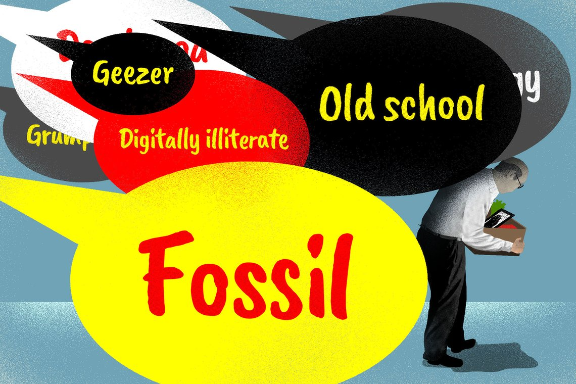 illustration of an older worker beseiged with speech bubbles that contain insults such as fossil digitally illiterate geezer and old school