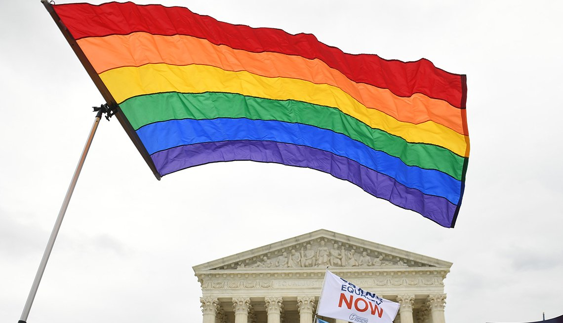 A rainbow flag flies outside the Supreme Court