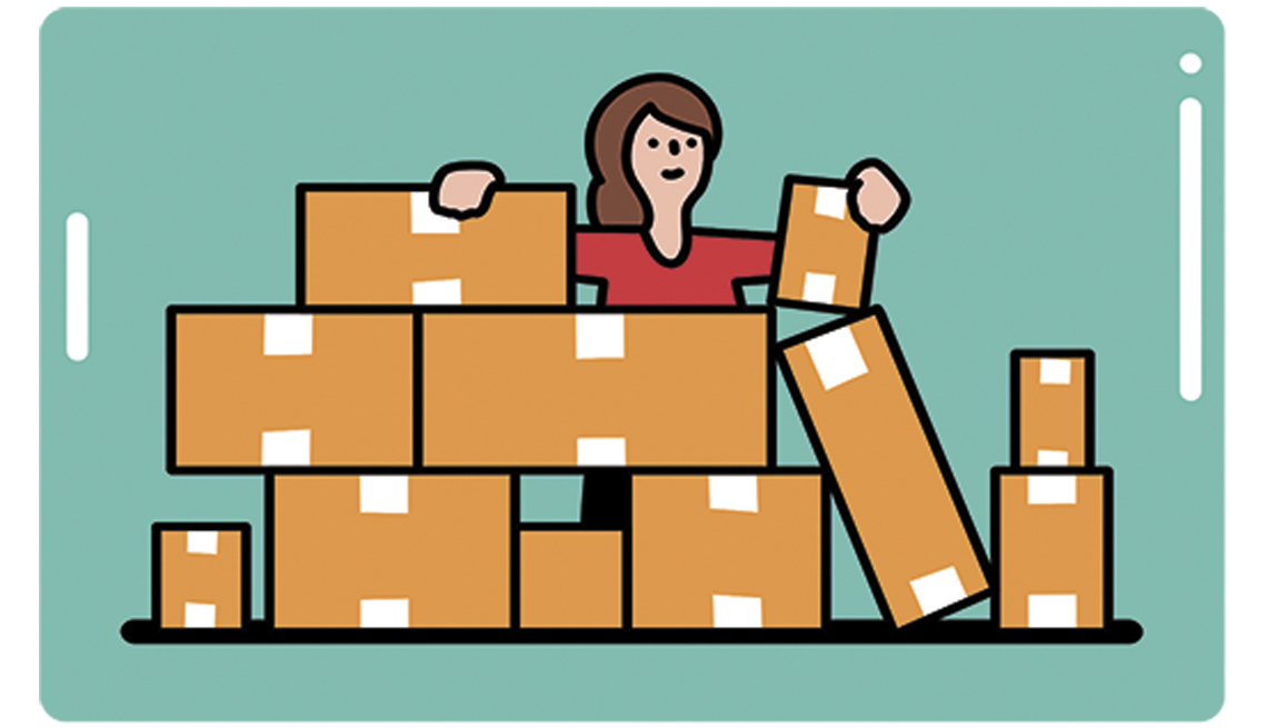 illustration of woman with a lot of packages of a product as she starts out to be a distributor