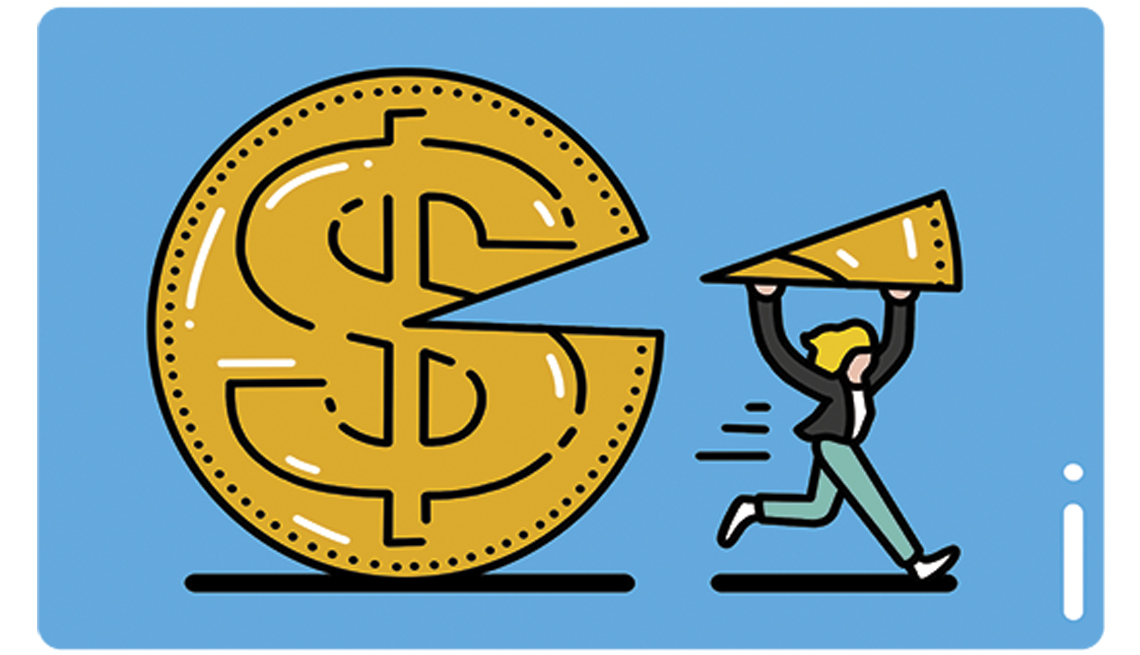 illustration of a person taking a slice of money profits