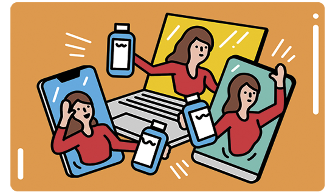 illustration of a woman selling products via electronic marketing
