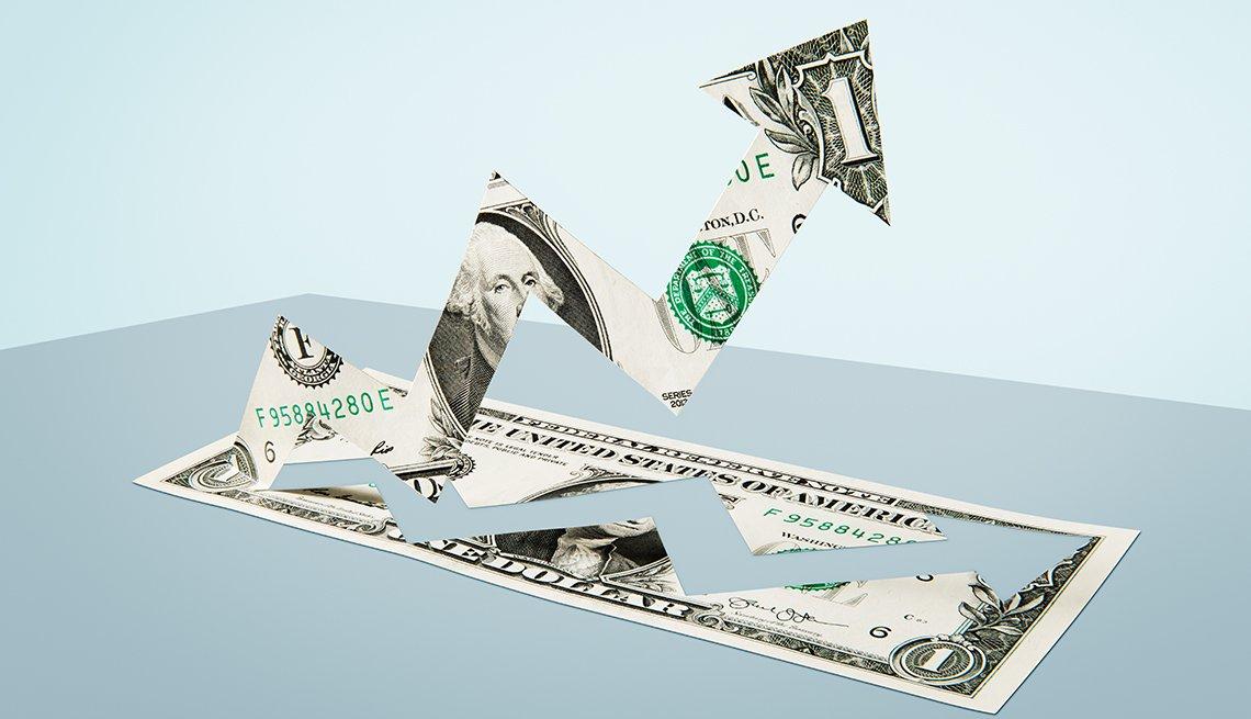 Ilustración de un dólar cuya parte interior se dobla en una flecha hacia arriba.