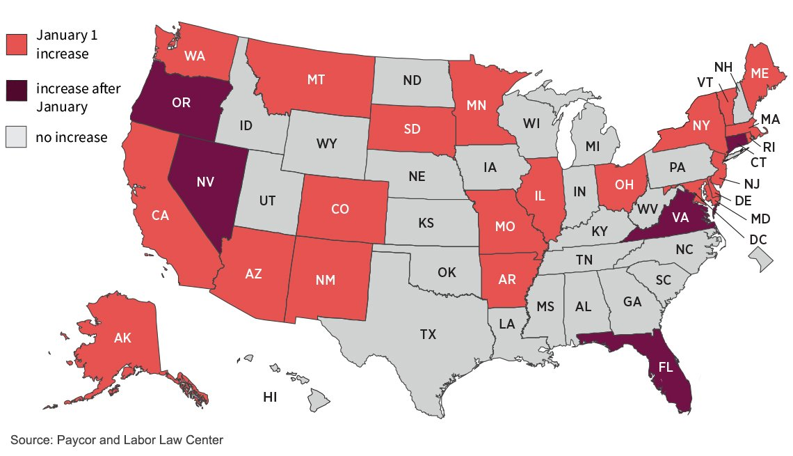map of the united states showing which states will have minimum wage increases in twenty twenty one